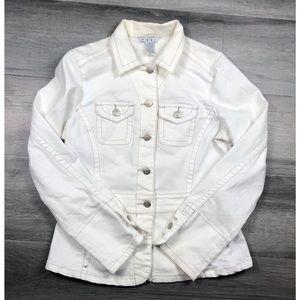 Cabi small denim jean jacket button down white